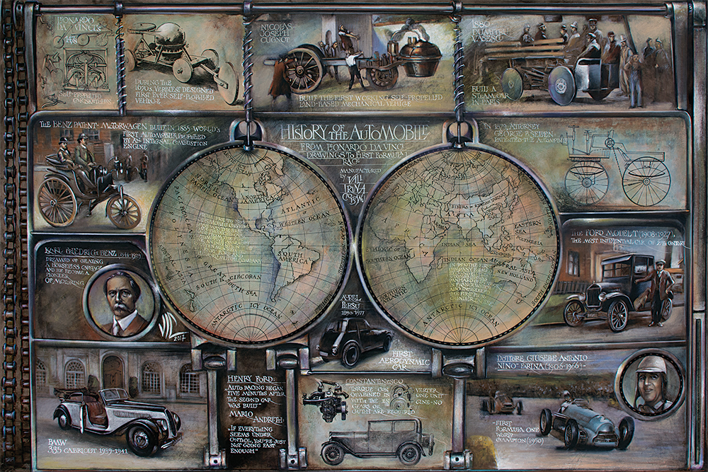 History of Automobile Map, Mixed media on leather, 150x100cm