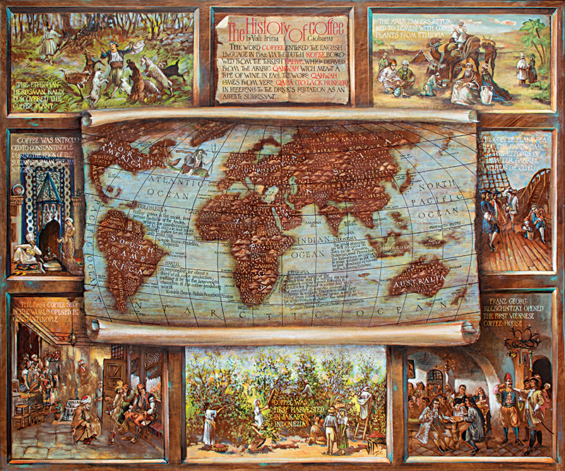 History of Coffee Map, Mixed media on leather, 0x100cm