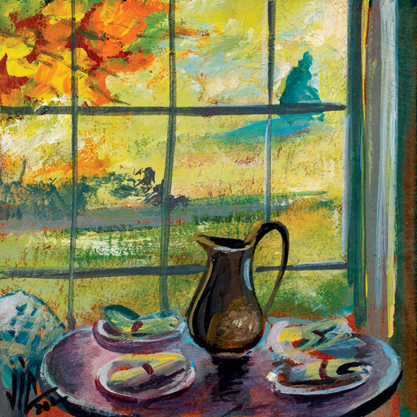 View with still life in Tennessee, painting on vellum, 100x100mm