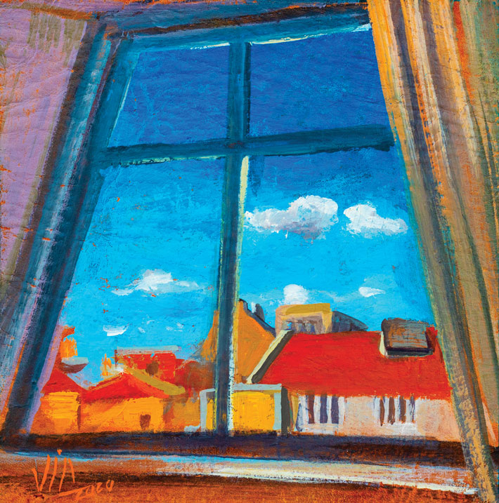 Window view from Portugal, painting on vellum, 100x100mm